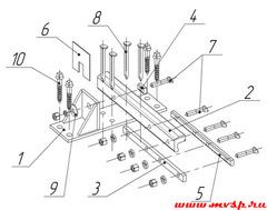 Рельс крестовины с контррельсом пр.2764 Р65 1/11 Профиль контррельсового узла: СП-850